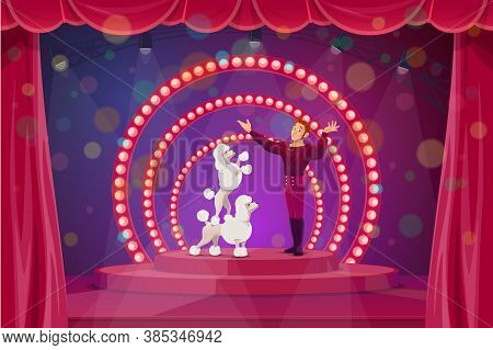Circus Stage With Big Top Tent Performers Tamer And Trained Dogs. Vector Trainer Artist Character Pe