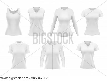 Women Clothes Isolated Vector Tshirt, Hoodie And Polo Shirt With Singlet And Longsleeve Apparel Mock