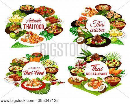 Thai Food Restaurant Vector Round Banners. Thailand Cuisine Meals. Sweet Rice With Mango, Curry, Fis