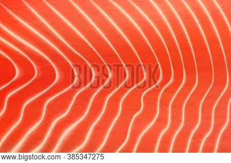 Salmon Or Trout Fish Meat Texture Background. Vector Fillet Texture With White Streaks, Realistic Or