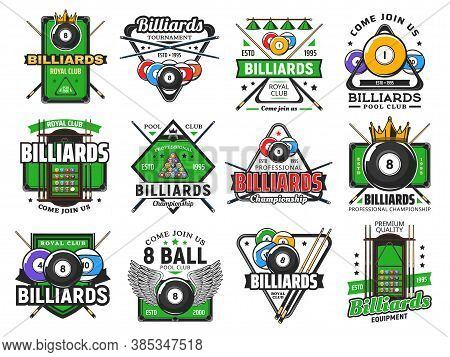 Billiards Pool Game, Snooker Sport Club Icons, Vector Poolroom Championship And Tournament. Billiard