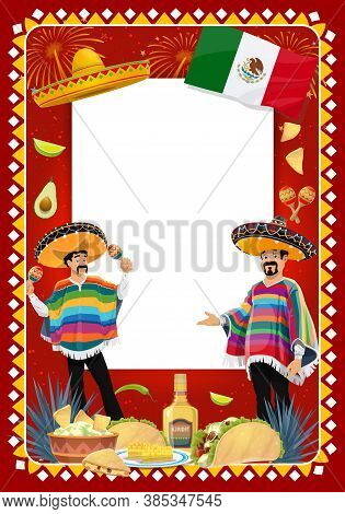 Mexican Holiday Vector Frame With Mariachi Musicians At Cinco De Mayo Festival. Music Band Cartoon C