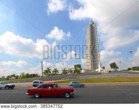 Havana, Cuba - April 03, 2013: Vintage Retro Cars On The Streets Of Havana. Vintage Cars On The Stre