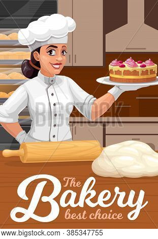 Patisserie, Bakery And Pastry Shop Baker With Cake, Vector Poster. Bakery Shop Pastry Sweet Desserts