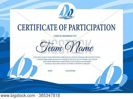 Yacht Regatta Diploma, Award Certificate Vector Template. Sea Sailing Victory Celebration Border Des