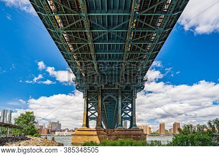 Manhattan Bridge Over East River And Waterfront Condominium Manhattan New York City Wide Angle View
