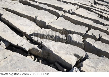 Geological limestone formation, known as karst, in the Aisa valley, Huesca province, Pyrenees in Spain.