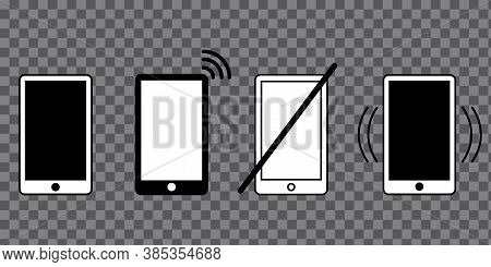 Smartphone States Set. Vibration, Silent Mode. Mobile Devices. Vector Illustration.