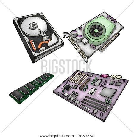 Color illustration of computer parts - harddrive graphics card memory module motherboard. poster