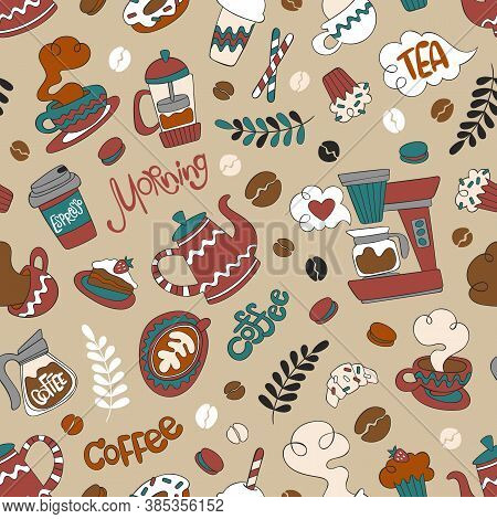 Coffee Pot And Coffee Cup. Hot Drink Mug. Coffee Machine. Sweet Pastries: Cupcake, Donuts, Muffin, C