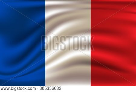 Flag Of France, Fluttered In The Wind. Sewn From Pieces Of Cloth, A Very Realistic Detailed Flags Wa