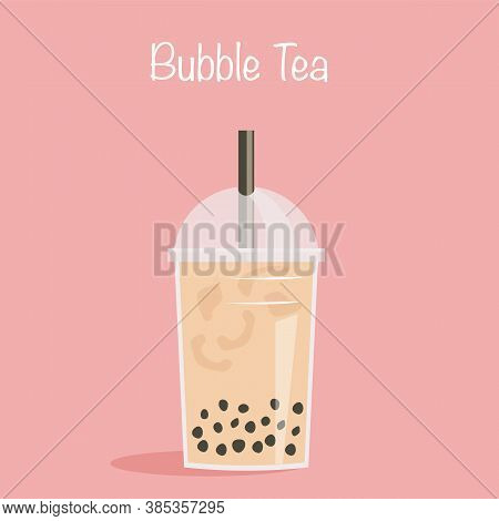 Take Away Glass Of Pearl Milk Tea With Straw. A Cup Of Famous Taiwanese Bubble Tea On Pink Backgroun