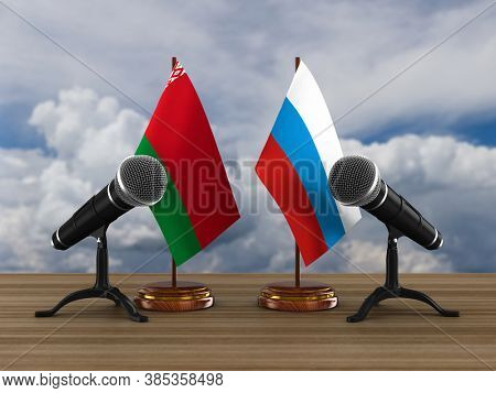 Relationship between Belarus and Russia. 3D illustration