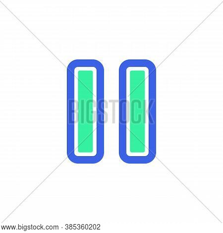 Pause Button Icon Vector, Filled Flat Sign, Bicolor Pictogram, Ui Pause Green And Blue Colors. Symbo