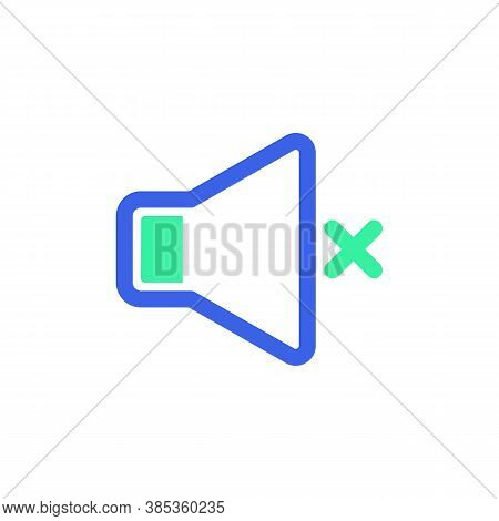 Sound Mute Icon Vector, Filled Flat Sign, Bicolor Pictogram, Audio Silent Green And Blue Colors. Sym