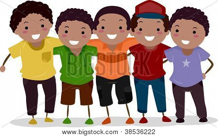 Illustration of ZAfrican-American Kids Huddled Together