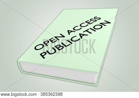 3d Illustration Of Open Access Publication Script On A Book, Isolated Over Green Gradient.
