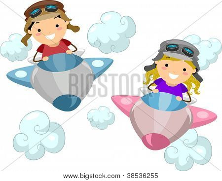 Illustration of Kids Wearing Aviator Outfits While Flying a Makeshift Airplane poster