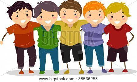 Illustration of a Group of Boys Huddled Together