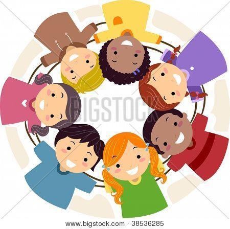 Illustration of Kids Huddled Together in a Circle