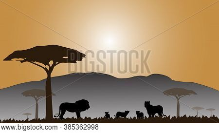 Full Frame Silhouette Family Of Lion In The Grassland On The Multicolor Background.