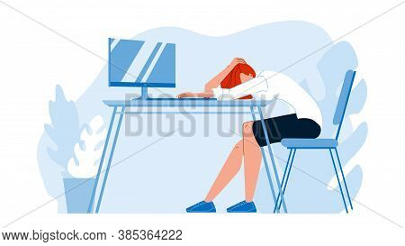 Business Woman Asleep At Desk In Office Vector