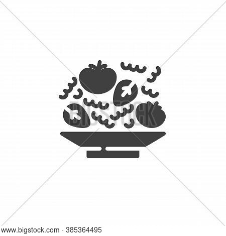 Tomatoes Soup Plate Vector Icon. Filled Flat Sign For Mobile Concept And Web Design. Plate With Toma