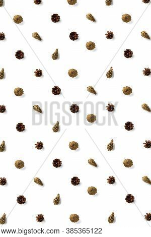 Pine Cone Christmas Background On White. Pine Branches And Cones. Minimal Creative Cone Arrangement