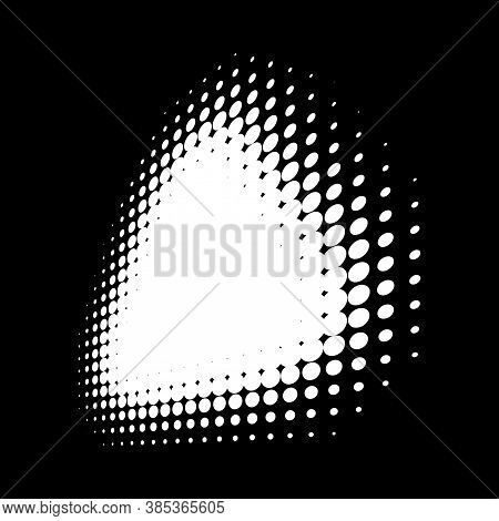 Halftone White Triangle Perspective Frame Abstract Dots Logo Emblem Design Element For Technology, M