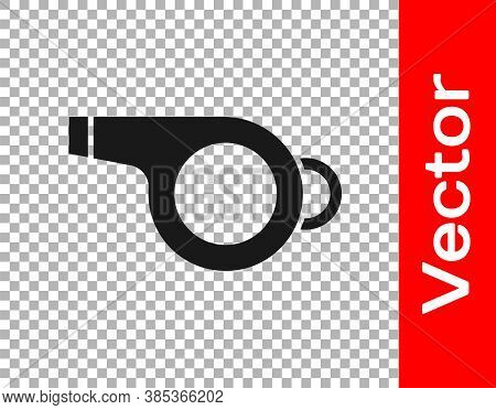 Black Whistle Icon Isolated On Transparent Background. Referee Symbol. Fitness And Sport Sign. Vecto