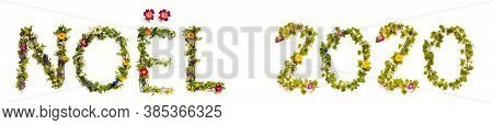 Flower And Blossom Letter Building Word Noel 2020 Means Christmas 2020