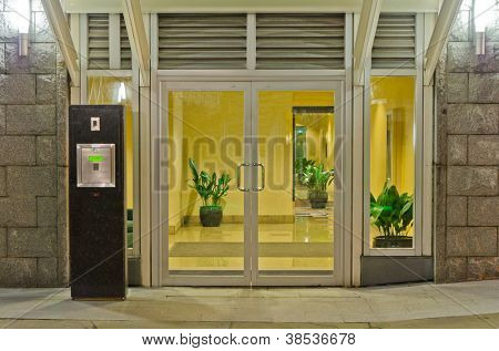 Entrance (back door) of a building at night