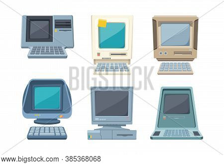 Retro Computers Set. Old Electronic Pc Various Shapes Layouts Information Gadgets With Builtin Case