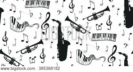 Seamless Musical Notes, Instruments. Musical Symbols For Banner Of Festival, Print Design, Melody Re