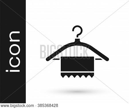 Grey Hanger Wardrobe Icon Isolated On White Background. Clean Towel Sign. Cloakroom Icon. Clothes Se