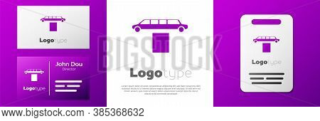 Logotype Luxury Limousine Car And Carpet Icon Isolated On White Background. For World Premiere Celeb