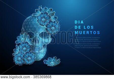 Scull With Flowers. Dia De Los Muertos Concept.