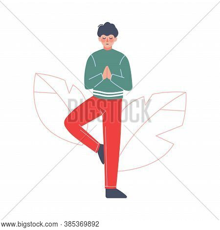 Young Man Meditating To Calm Down Stressful Emotion, Person Relaxing, Reducing And Managing Stress C