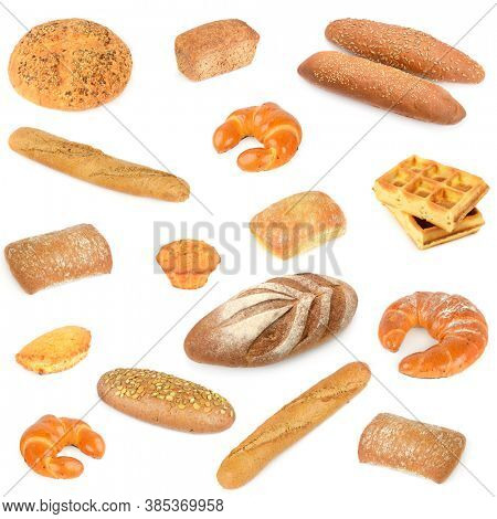 Diverse set fresh and healthy bread products isolated on white background.