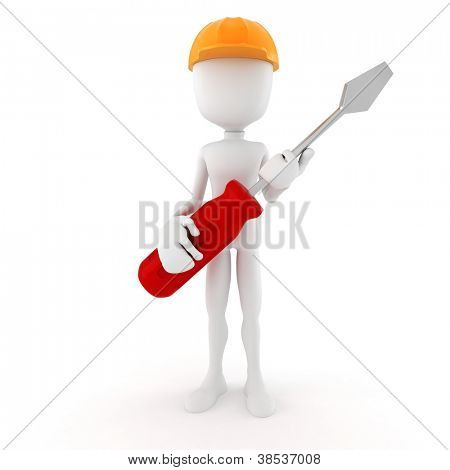 3d man holding a screwdriver