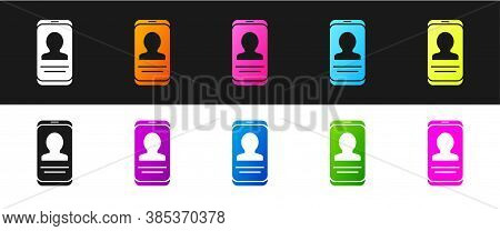 Set Mobile With Resume Icon Isolated On Black And White Background. Cv Application. Searching Profes