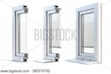 Cross section of plastic windows profile PVC isolated on white background. 3d illustration