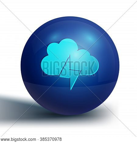 Blue Storm Icon Isolated On White Background. Cloud And Lightning Sign. Weather Icon Of Storm. Blue