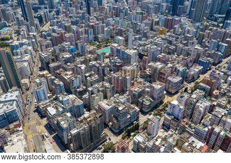 Sham Shui Po, Hong Kong 12 April 2020: Top view of Hong Kong city