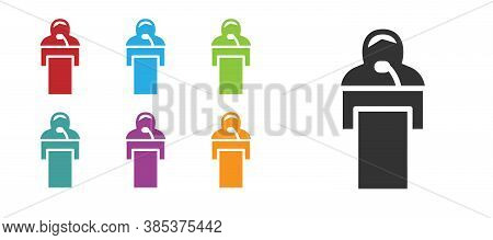 Black Gives Lecture Icon Isolated On White Background. Stand Near Podium. Speak Into Microphone. The