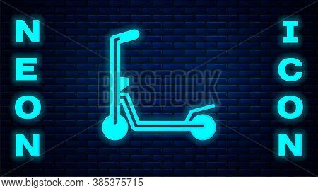 Glowing Neon Roller Scooter For Children Icon Isolated On Brick Wall Background. Kick Scooter Or Bal