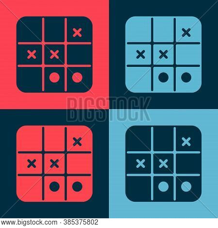 Pop Art Tic Tac Toe Game Icon Isolated On Color Background. Vector