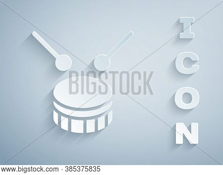 Paper Cut Drum With Drum Sticks Icon Isolated On Grey Background. Music Sign. Musical Instrument Sym