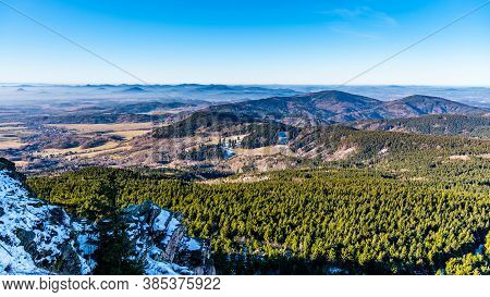 Lusatian Mountains, Czech: Luzicke Hory, Panoramic View Of Hilly Landscape From Jested Mountain On S