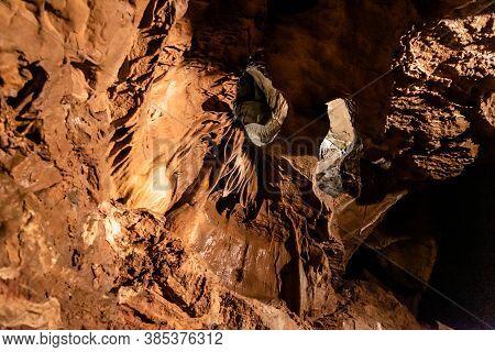 Illuminated Picturesque Karst Rock Formations In Balcarka Cave, Moravian Karst, Czech: Moravsky Kras